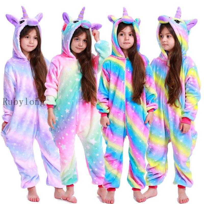 Пижамы, детские комбинезоны с единорогом, зимние комбинезоны, одежда для сна для девочек и мальчиков, пижамные комплекты с животными, детски...