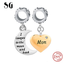 New Arrival 925 Sterling Silver Charms Mom Love Beads Fit Original Pandora Bracelet Authentic pendant DIY Jewelry Mother Gift fc jewelry fit original pandora charms bracelet 925 sterling silver family heart tree of life mom lockets beads necklace pendant