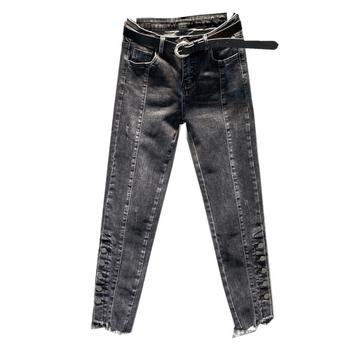 Spring autumn new jeans women high waist casual feet straight denim pants r904 Straight Jeans