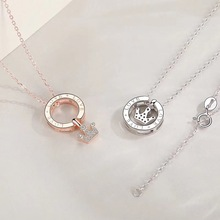Genuine 925 sterling silver necklace fashion crown pendant female necklace gift cute romantic 925 sterling silver jewelry