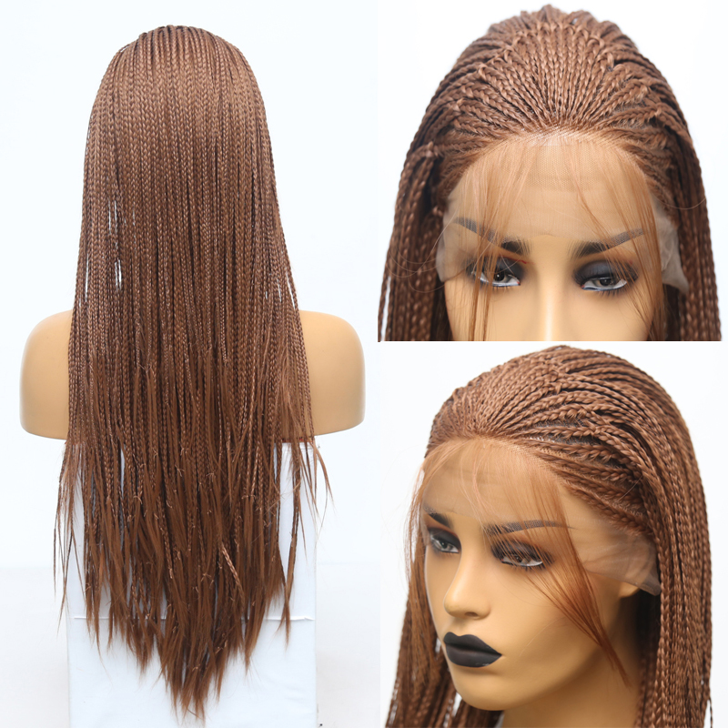 RONGDUOYI Long Brown Color Braided Box Braids Synthetic Wig 24 Inch Heat Resistant Hair Lace Front Wigs For Women With Baby Hair