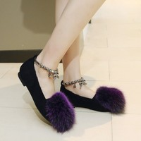US4 11 Womens Round Toe Ankle Metal Beads Buckle Bowknot Flats Ball Fur Decor Ballet Warm Winter Shoes 5Colors Plus Size