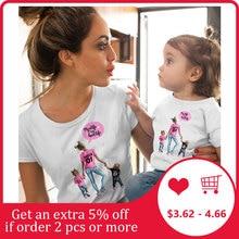 Женская футболка Одинаковая одежда для семьи костюм для девочек новые летние футболки с короткими рукавами для мамы и дочки, одежда для малышей