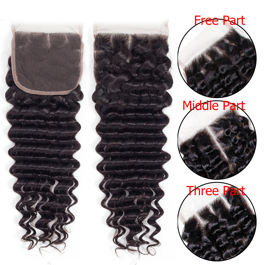 Deep Wave Bundles With Lace Closure 4x4 Brazilian Hair Weave Bundle With Closure Remy Human Hair Deep Wave Bundles With Lace Closure 4x4 Brazilian Hair Weave Bundle With Closure Remy Human Hair Free Middle Three Part Jarin
