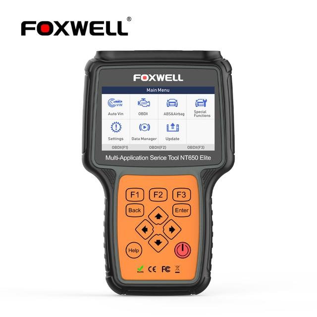 FOXWELL NT650 엘리트 OBD 2 자동차 도구 자동차 스캐너 코드 리더 SAS DPF 인젝터 BRT 오일 19 재설정 서비스 OBD2 진단 도구