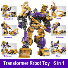Transformation Robot Toy 6 in 1 Engineering Vehicle Model Educational Assembling Deformation