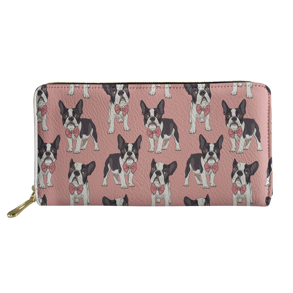 HaoYun Women's PU Leather Long Wallets French Bulldogs Pattern Girls Money Bags 3D Cartoon Animal Design Ladies Coin Pounch Bags