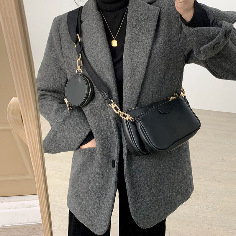 2020 Woman Messenger Bag Quality PU Leather New Style Fashion Three In One Handbags Wide Shoulder Bag Female Crossbody Bag