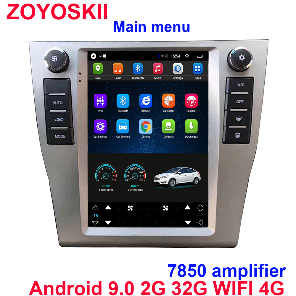 Android 9.0 Os 10.4 Inch Vertical Tesla Style CAR Radio GPS Bluetooth Navigation Player WIFI 4G For Toyota Camry 2007-2011