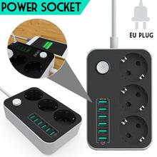 2500W 10A Universal Charger Household Socket Surge Protection Power 6 USB Charging Ports Extension Cord Power Strips EU Plug цена 2017