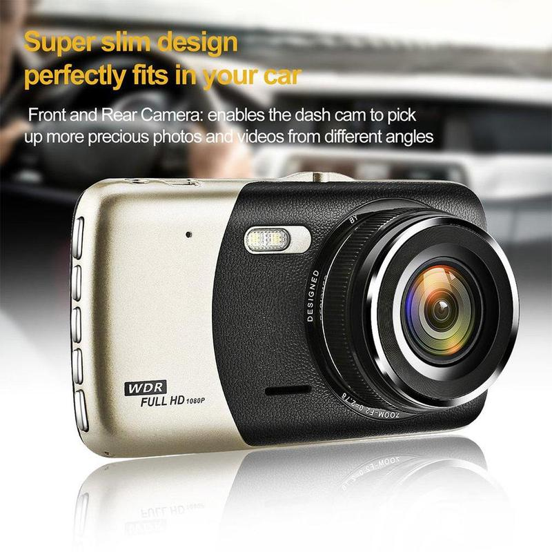 4-inch Lcd Ips Dual-lens Car Dash Cam Fhd 1080p Dashboard Camera 170-degree Drive Dvr Dashcam