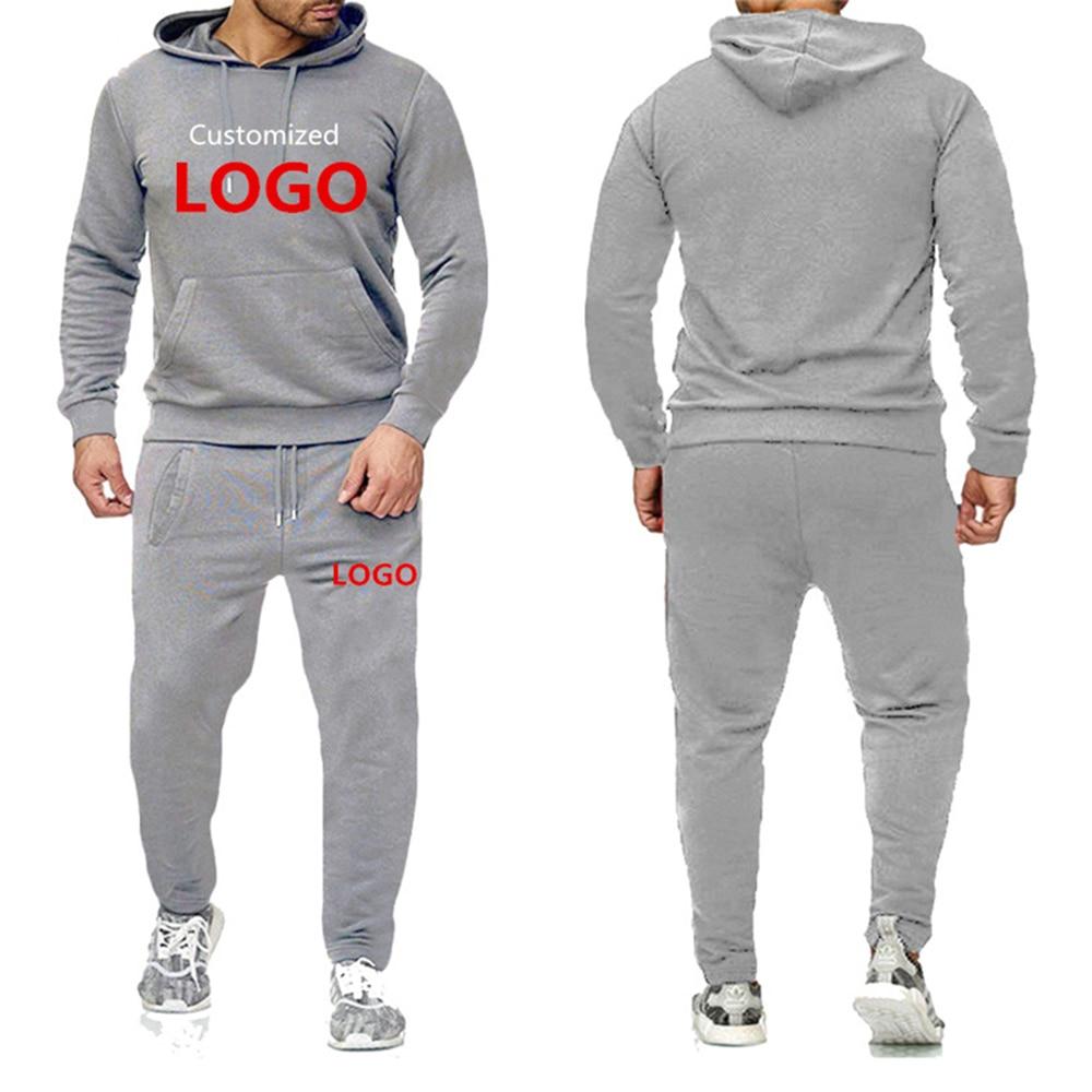 OIMG 2Pcs Men's Sets DIY Custom Logo Text Image Hoodies Pant Casual Fashion Hoody Sweatshirts + Sweatpants Print Tracksuit