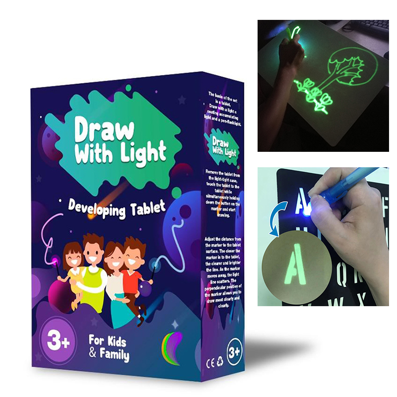PVC Light Drawing Board A3/A4/A5 Light Drawing - Fun And Developing Toy Drawing Board Set English/Russian Langues Boys Girls Toy
