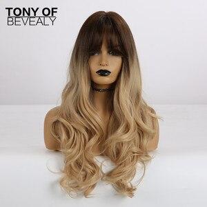 Image 5 - Pelucas sintéticas largas onduladas para mujer, de color marrón claro, con flequillo, pelo Natural de estilo africano americano, fibra resistente al calor para uso diario