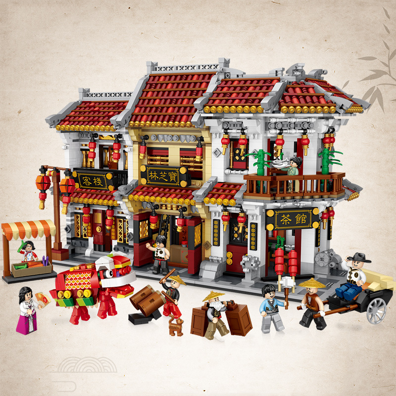 LOZ city street view creative product big Chinatown model mini streets teahouse Baozhilin building block toys for children gifts image