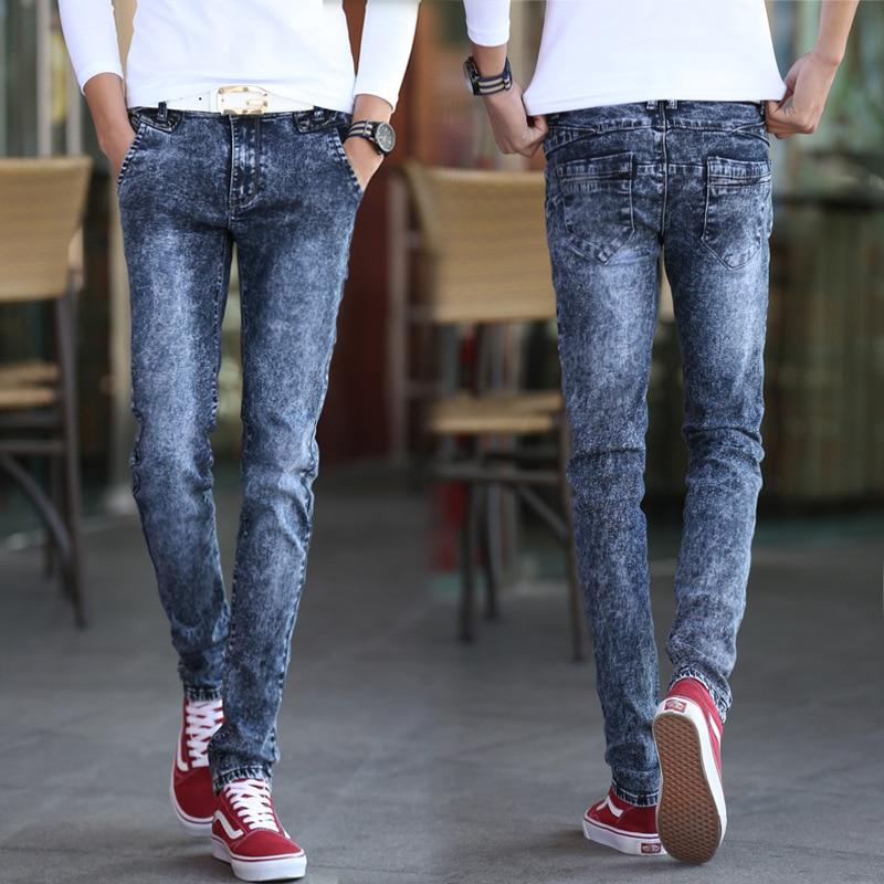 2017 New Style Snow Gray MEN'S Jeans Men Korean-style Trend Skinny Pants Micro Elastic Casual Slim Fit Trousers