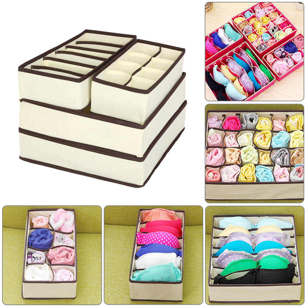 Underwear-Organizer Storage-Box Wardrobe Drawer Bra Scarfs-Socks Multi-Size Foldable title=