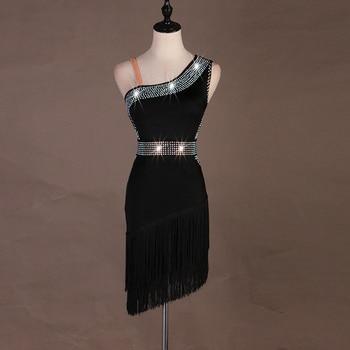 purple black latin dress cha cha salsa tango dresss  Rhinestones Costume DS singer Stage dress custom   tassel fringe lq111