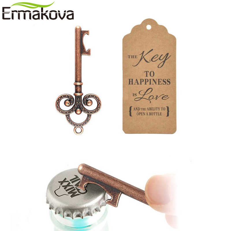 ERMAKOVA 50 Pcs Skeleton Key Bottle Opener Beer Bottle Opener Wedding Favors Gifts For Guests Rustic Party Wedding Decoration