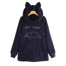 Casual Cat Ear Hooded Pullovers Women Hoodies Polyester Coat with Pocket 2020 Autumn Winter New Double-sided Plush Long Sleeve
