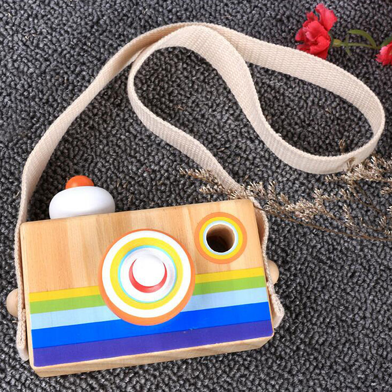 Hot Sale Wooden Rainbow Camera Toy Toddler Kids Kaleidoscope Lens Pretend Play Toys Home Bedroom