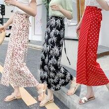 купить 2019 Women Ankle-Length Casual Vacation Asymmetrical Irregular Long Skirt Variety Wear Floral Print Chiffon High Waist Skirt дешево