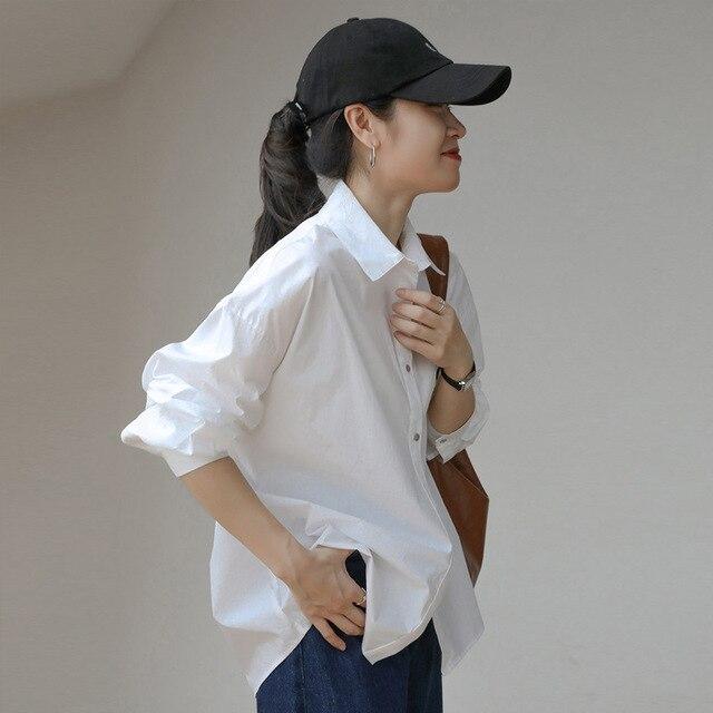 2021 Spring Summer Women Blouse Korean Long Sleeve Womens Tops Blouses  Solid Loose Women Shirts Blusas Roupa Feminina Tops 5