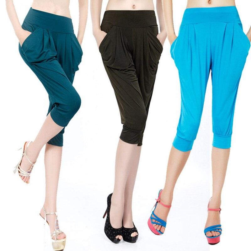 YRRETY Women Summer Solid Harem Pants Loose Knee Length Trousers Female Soft Elastic Waist Capris Pants Plus Size Mujer New Pant