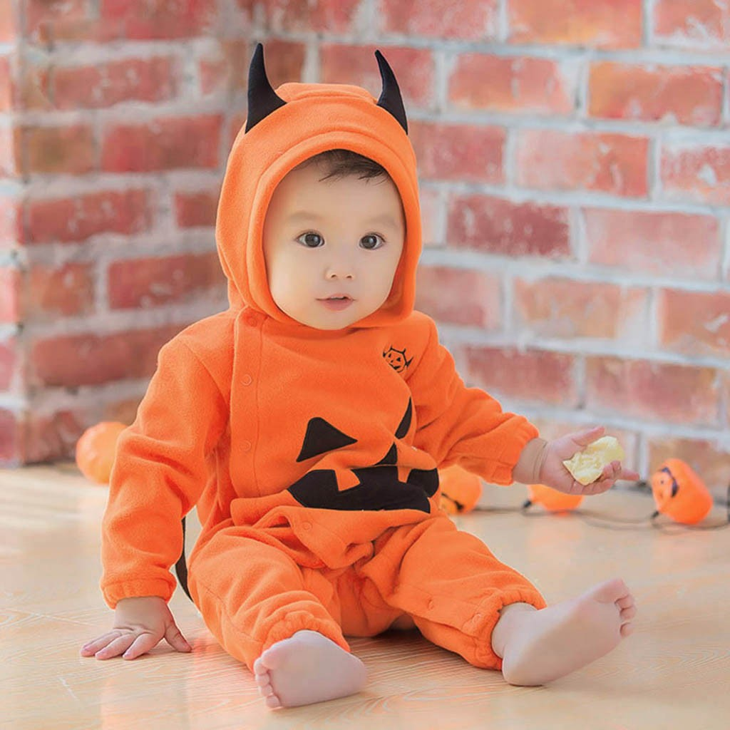 Infant Pumpkin Halloween Costume | Infant Newborn Baby Boy Girl Halloween Costume Hooded Romper Pumpkins Jumpsuit Boys Girls Rompers Clothes Outfits Playsuit New