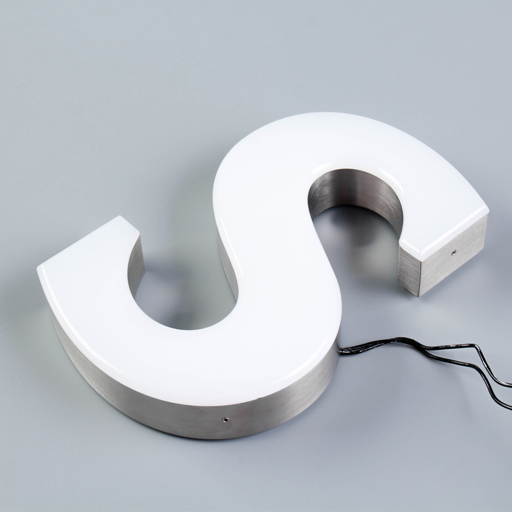 Custom 3D Rimless Frontlit Led Sign Letter Stainless Steel Channel Letter Acrylic Surface For Adveresting Or Shop Sign
