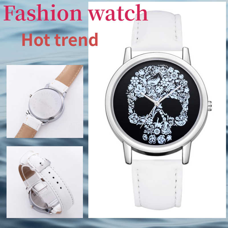 2020 Luxury Women's Watches ladies Leather Band Skull Printed Analog Quartz Wristwatch Female casual Clock relogios femininos