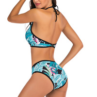 Vestido de baño bikini tropical halter push up 2