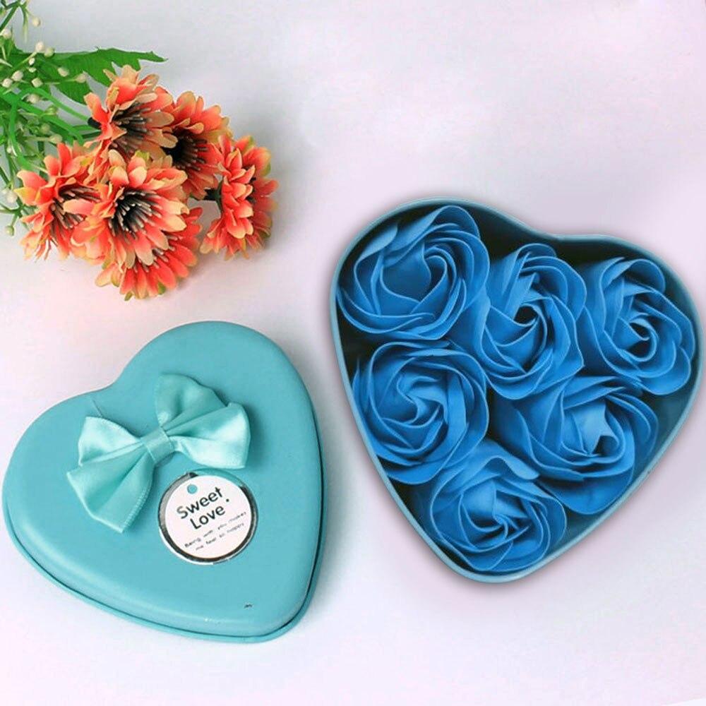 Цветок мыло роза мыло 6шт сердце аромат ванна тело лепесток роза цветок мыло чехол свадьба украшение подарок фестиваль коробка +% 2340