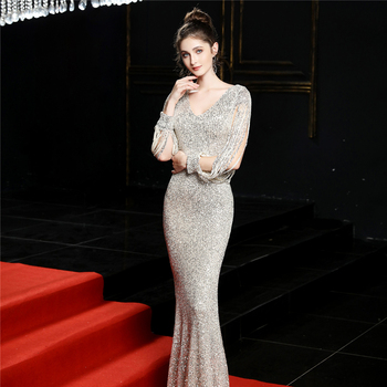 Sequined Mermaid Prom Dress Elegant V-Neck Women Party Dress DX254-4 2019 Plus Size Robe De Soiree Floor Length Evening Dresses 4