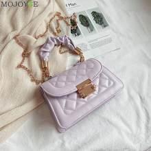 Popular simples feminino saco diário casual couro do plutônio sling bolsa feminina elegante corrente de ombro crossbody saco