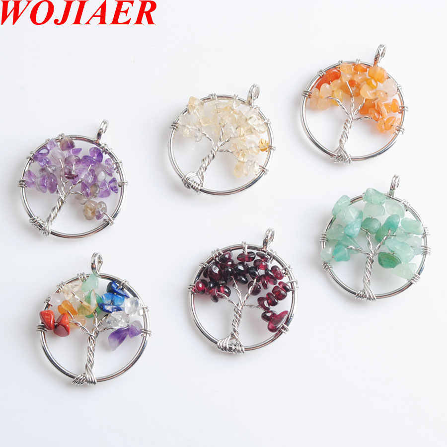 WOJIAER Tree of Life Pendant Natural Gem Stone Chip Beads 7 Chakra Wire Wrapped Women Jewelry LBN800