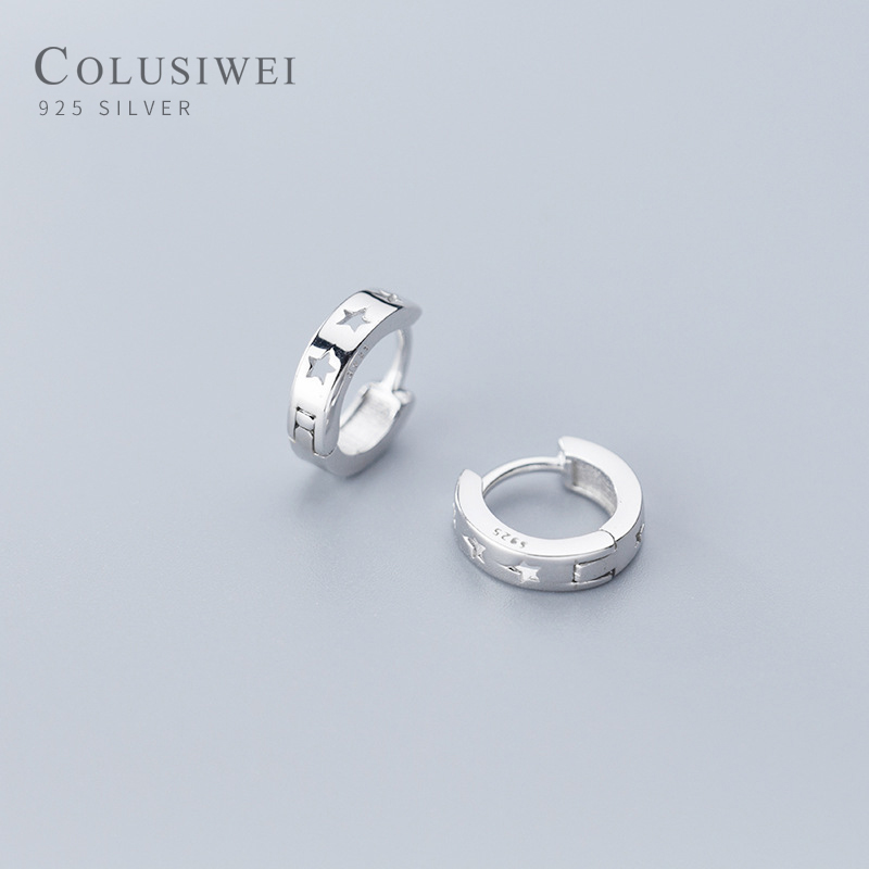 Colusiwei Fashion Hollow Out Star Hoop Earrings for Women Simple Pentagram Ear Stud 925 Sterling Silver Jewelry Female Gift