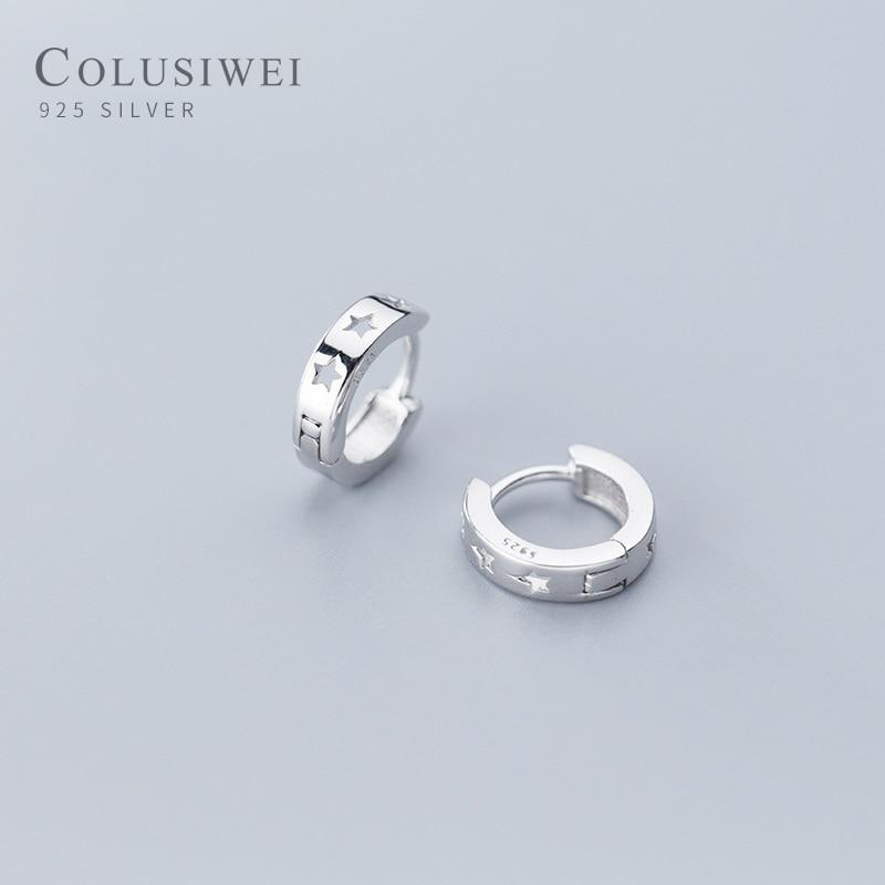 Colusiwei Fashion Hollow Out Star Hoop Earrings for Women Simple Pentagram Ear Stud 925 Sterling Silver Jewelry Female Gift