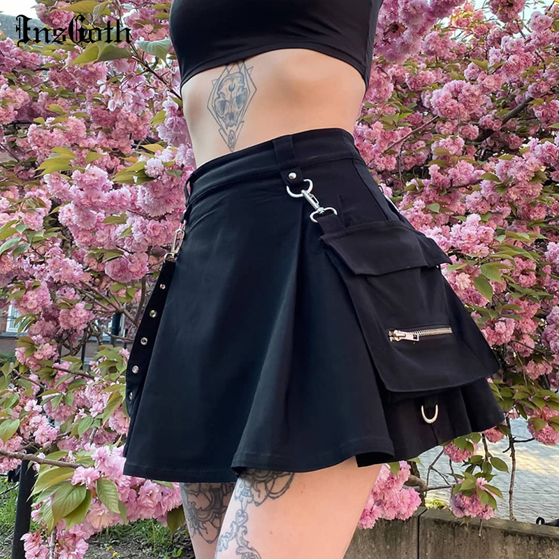 InsGoth Harajuku Punk Gothic Black High Waist Black Skirts Women Sexy Patchwork Bandage Mini Skirt Female Streetwear Summer Chie