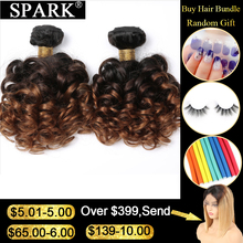Spark Brazilian Bouncy Curly Human Hair Bundles 1/3/4pcs Ombre Medium Ratio Remy