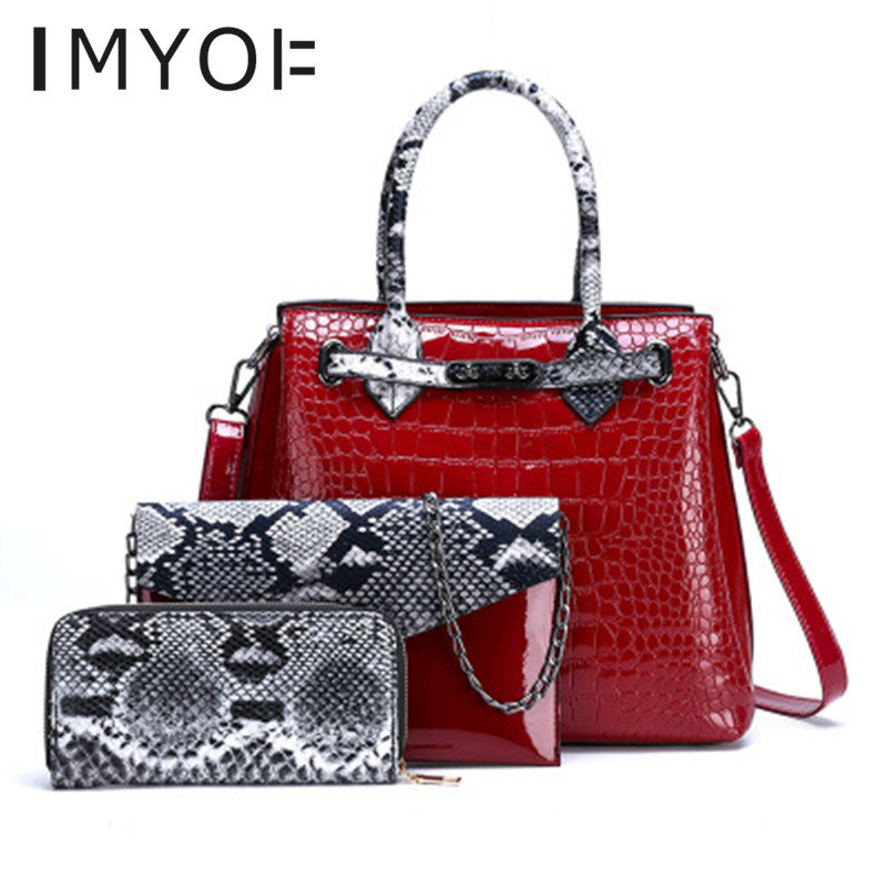 IMYOK 3pcs/Set PU Leather Handbags Women Large Capacity Bag Fashion Crocodile Pattern Shoulder Messenger Bag Sac A Main Femme