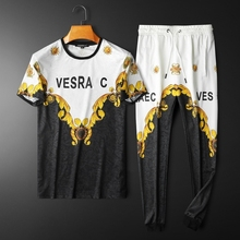 Sports-Suit Two-Piece Short-Sleeved Summer Spring Cotton Men Youth Round-Neck Ice-Silk
