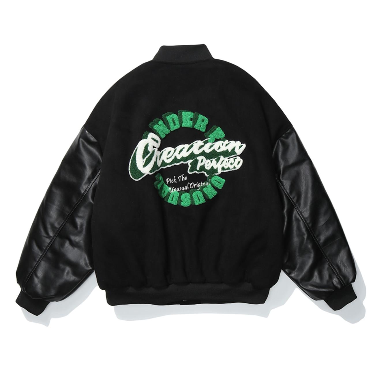 Mens Hip Hop Chamois Suede Thick Jackets Streetwear Baseball Jacket Coats Winter Harajuku Patchwork Bomber Jacket Tops