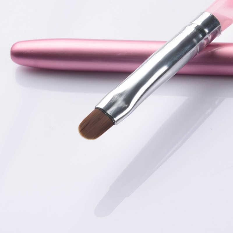 1 PC Pink Paku Seni Sinar UV Gel Sikat Pena dengan Cap Nail Art Alat untuk Uv Gel Kuku