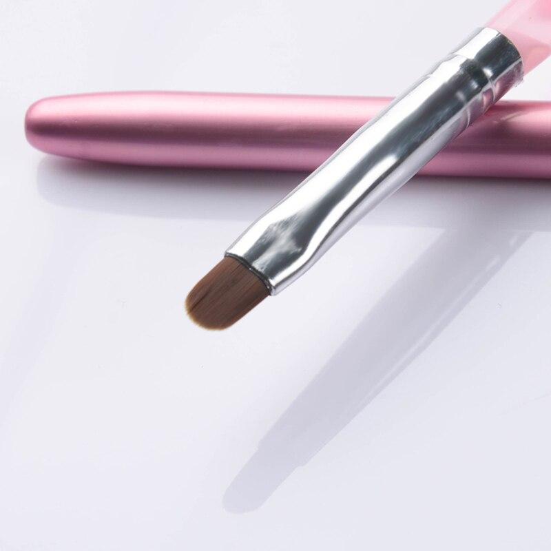 1Pc Pink Nail Art UV Gel Brush Pen With Cap Nail Art Manicure Tools For UV Gel Nail Polish