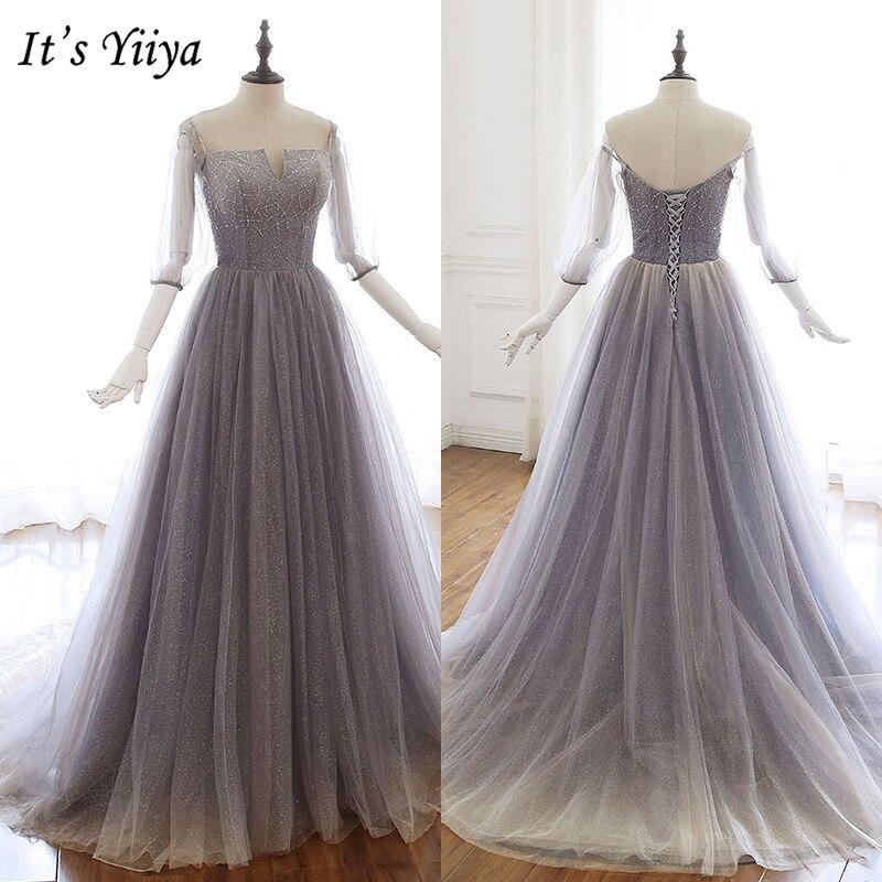 It's Yiiya Evening Dress 2019 Three Quarter Sleeve Sequins Party Long Dresses Off Shoulder Elegant Formal Dresses Plus Size E944