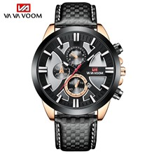 2021 New 45mm Dial Fashion Watches Top Brand Luxury Sports Waterproof Chronograph Military Genuine Leather Wrist Watches for Men