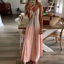 Summer Dress Maxi-Tank Printed Gradient Vestido-De-Mujer Casual Women's Sleeveless V-Neck