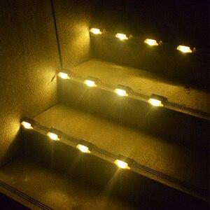 Image 2 - ABS solaire, 12 pièces, lampe à Led escaliers solaires, imperméable conforme à la norme IP65, éclairage dextérieur, éclairage blanc chaud, Durable, pour un jardin, un plancher ou une cour