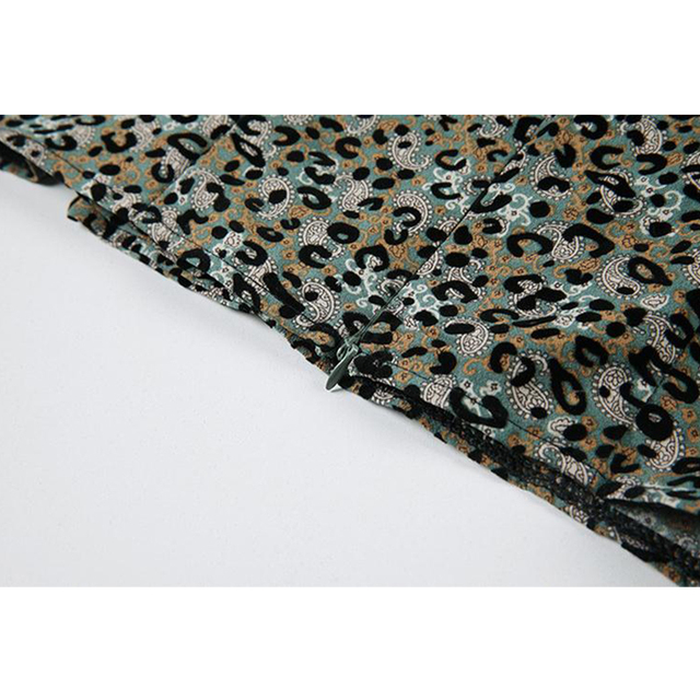 Beach Crop Blouse For Ladies Fashion Square Collar Long Sleeve Bownot Shirt Women Leopard Korean Chic Retro Street Blusas Tops 6